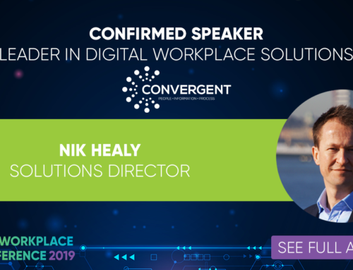 Nik Healy speaking at Digital Workplace UK Conference 2019